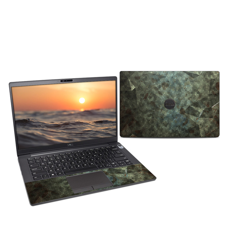Dell Latitude 7400 Skin design of Green, Pattern, Brown, Wall, Design, Rock, Geology, Camouflage, Granite, Metal with black, brown, blue, gray, white colors