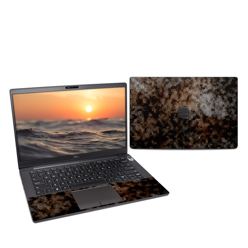 Dell Latitude 7400 Skin design of Brown, Design, Soil, Pattern, Rock, Rust, Granite, Metal with black, white, gray, brown colors