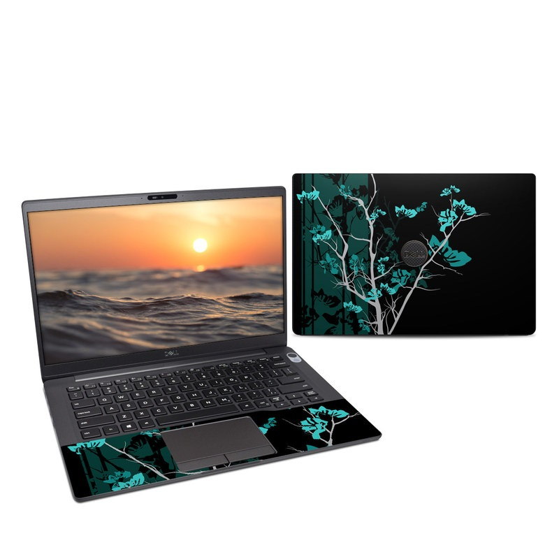 Dell Latitude 7400 Skin design of Branch, Black, Blue, Green, Turquoise, Teal, Tree, Plant, Graphic design, Twig with black, blue, gray colors