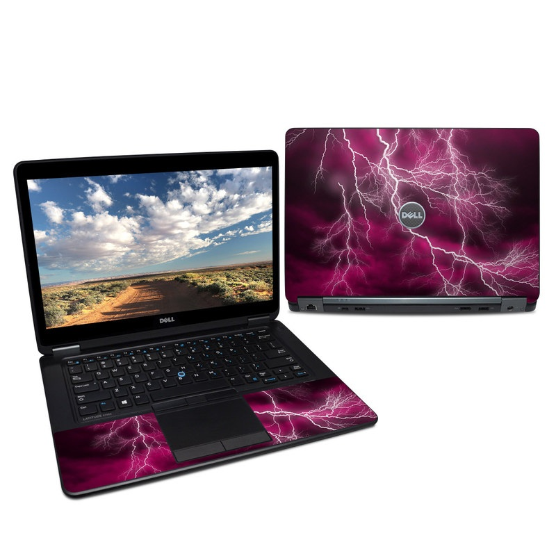 Dell Latitude E7450 Skin design of Thunder, Lightning, Thunderstorm, Sky, Nature, Purple, Red, Atmosphere, Violet, Pink with pink, black, white colors