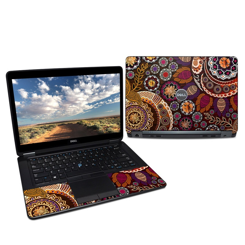 Dell Latitude E7450 Skin design of Pattern, Motif, Visual arts, Design, Art, Floral design, Textile, Paisley, Tapestry, Circle with brown, purple, red, white, black colors