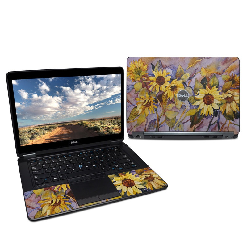 Dell Latitude E7450 Skin design of Sunflower, Painting, Flower, sunflower, Watercolor paint, Yellow, Plant, Still life, Acrylic paint, Modern art with green, gray, black, red, blue, purple colors