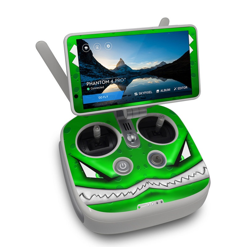 DJI Phantom 4 Pro Plus Controller Skin design of Green, Font, Animation, Logo, Graphics, Games with green, white colors