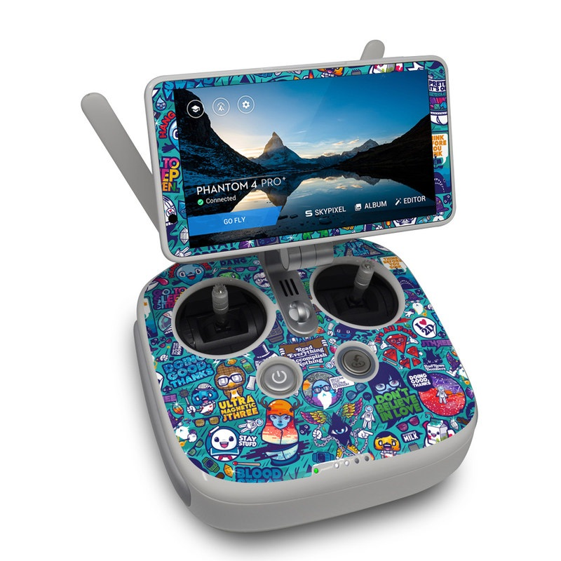 DJI Phantom 4 Pro Plus Controller Skin design of Art, Visual arts, Illustration, Graphic design, Psychedelic art with blue, black, gray, red, green colors