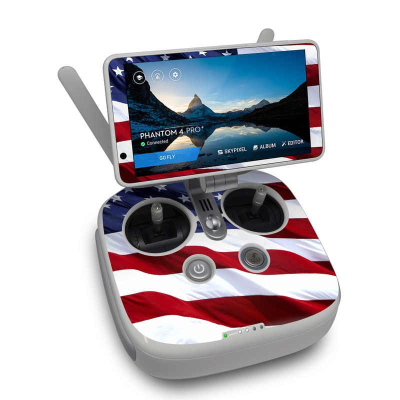 DJI Phantom 4 Pro Plus Controller Skin design of Flag, Flag of the united states, Flag Day (USA), Veterans day, Memorial day, Holiday, Independence day, Event with red, blue, white colors