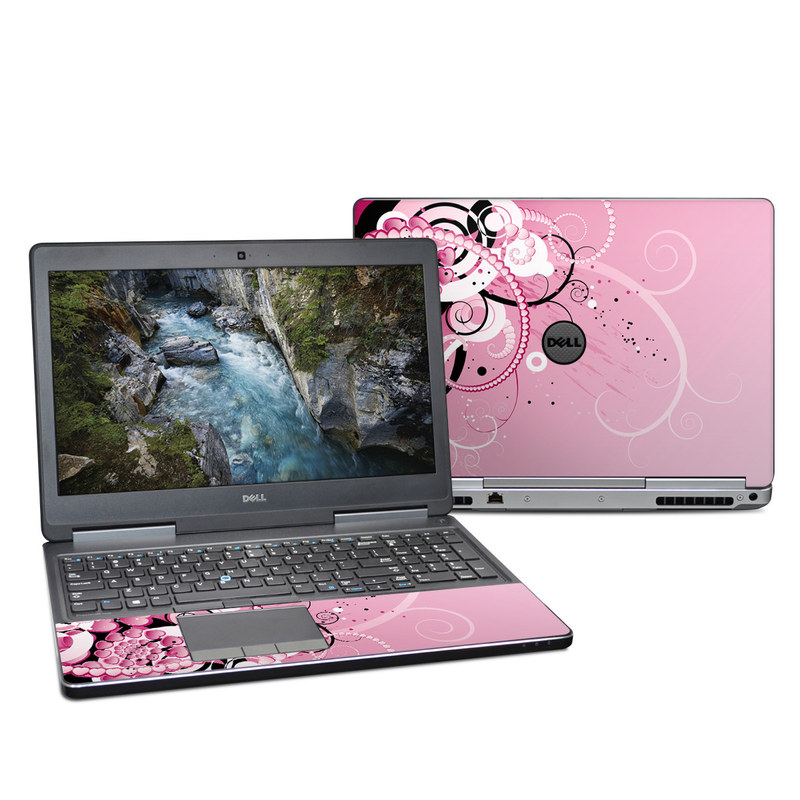 Dell Precision 7520 Skin design of Pink, Floral design, Graphic design, Text, Design, Flower Arranging, Pattern, Illustration, Flower, Floristry with pink, gray, black, white, purple, red colors
