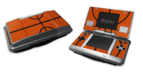 Nintendo DS Skin design of Orange, Basketball, Line, Pattern, Sport venue, Brown, Yellow, Design, Net, Team sport with orange, black colors
