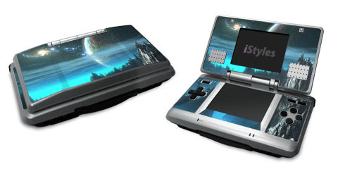 Nintendo DS Skin design of Space, Astronomical object, Sky, Earth, Atmosphere, Planet, World, Outer space, Cg artwork, Screenshot with black, blue, gray, yellow, orange colors