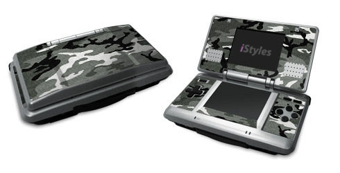Nintendo DS Skin design of Military camouflage, Pattern, Clothing, Camouflage, Uniform, Design, Textile with black, gray colors