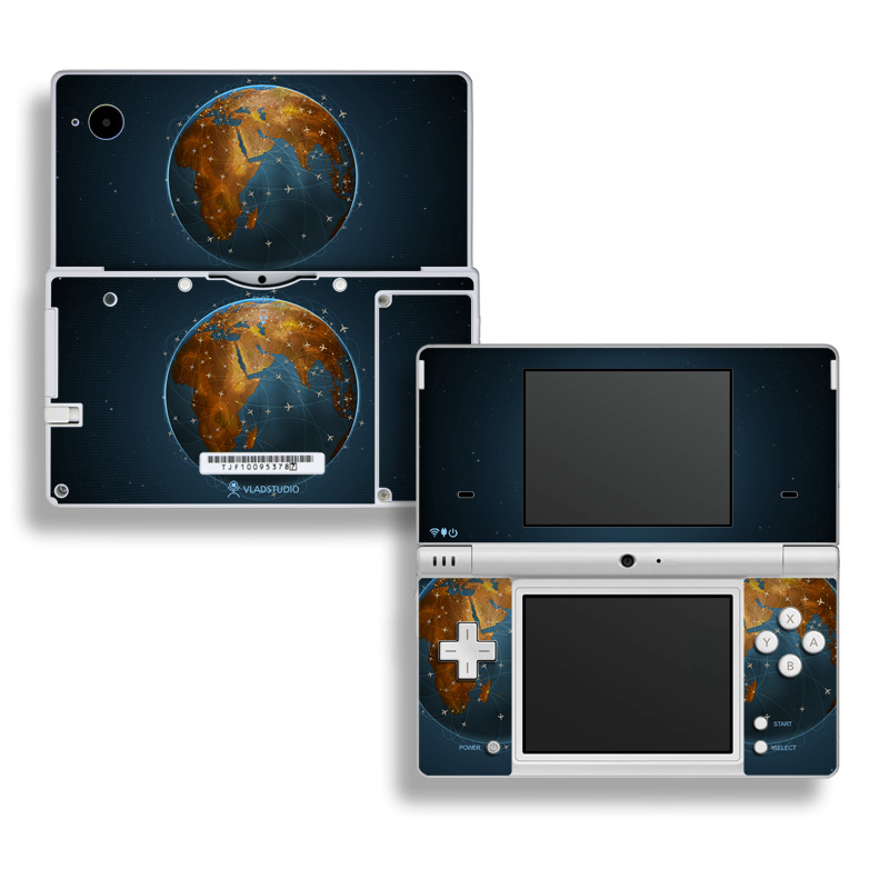 Nintendo DSi Skin design of Planet, Earth, Astronomical object, World, Atmosphere, Globe, Space, Sky, Astronomy, Circle with blue, yellow, brown colors