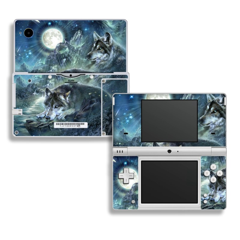 Nintendo DSi Skin design of Cg artwork, Fictional character, Darkness, Werewolf, Illustration, Wolf, Mythical creature, Graphic design, Dragon, Mythology with black, blue, gray, white colors