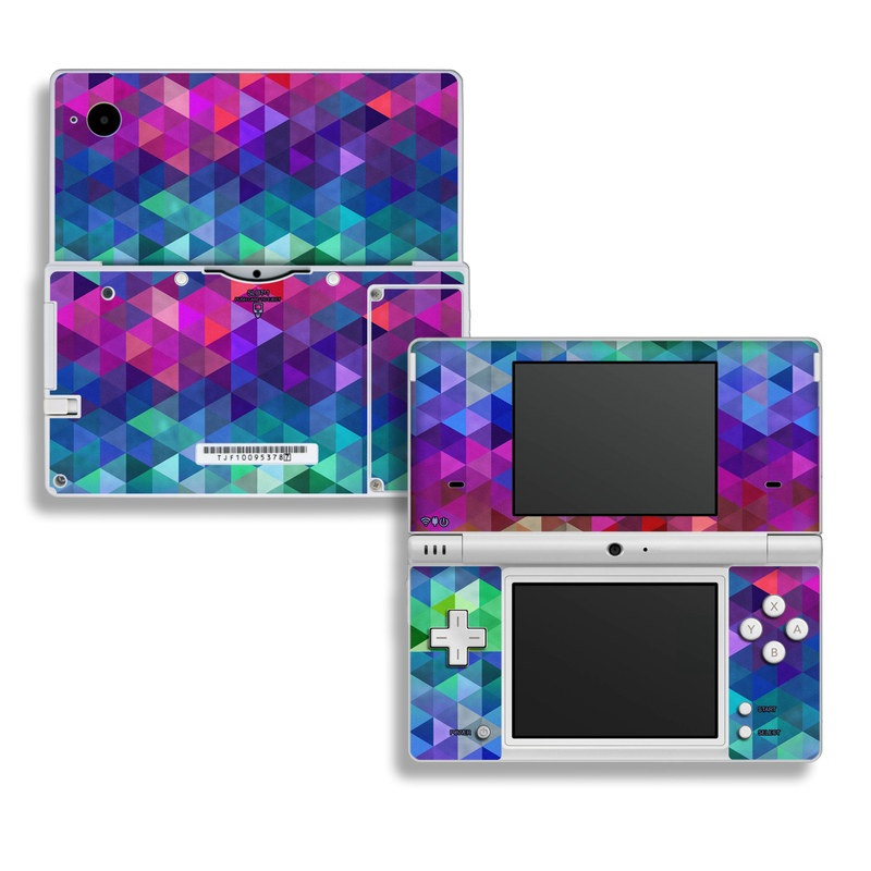 Nintendo DSi Skin design of Purple, Violet, Pattern, Blue, Magenta, Triangle, Line, Design, Graphic design, Symmetry with blue, purple, green, red, pink colors