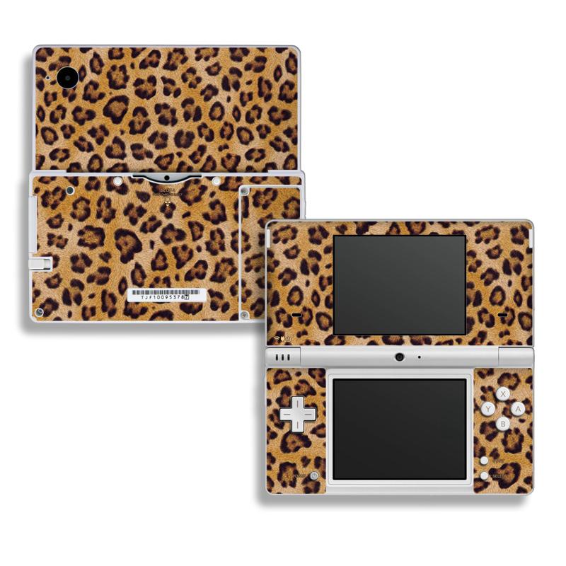 Nintendo DSi Skin design of Pattern, Felidae, Fur, Brown, Design, Terrestrial animal, Close-up, Big cats, African leopard, Organism with orange, black colors