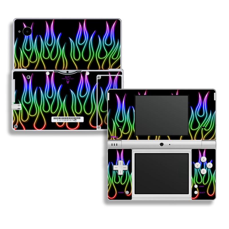 Rainbow Neon Flames Nintendo DSi Skin