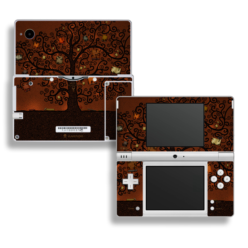 Nintendo DSi Skin design of Tree, Brown, Leaf, Plant, Woody plant, Branch, Visual arts, Font, Pattern, Art with black colors