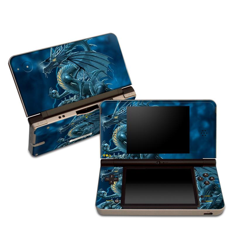 Nintendo DSi XL Skin design of Cg artwork, Dragon, Mythology, Fictional character, Illustration, Mythical creature, Art, Demon with blue, yellow colors