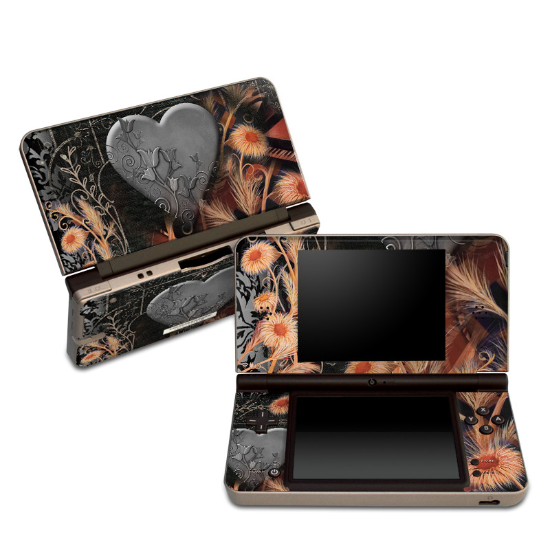 Nintendo DSi XL Skin design of Heart, Organ, Love, Art, Illustration with black, gray, orange colors