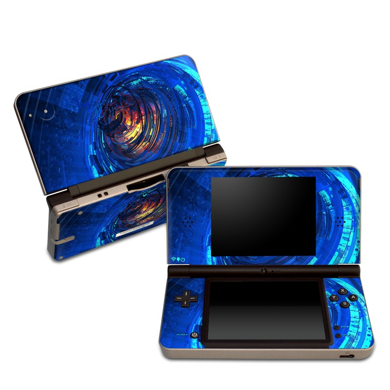 Nintendo DSi XL Skin design of Blue, Water, Circle, Vortex, Electric blue, Wave, Liquid, Graphics, Pattern, Colorfulness with blue, orange, yellow colors