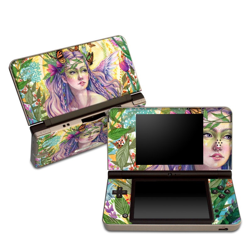 Nintendo DSi XL Skin design of Illustration, Fictional character, Art, Plant, Psychedelic art with green, yellow, purple, pink, red colors