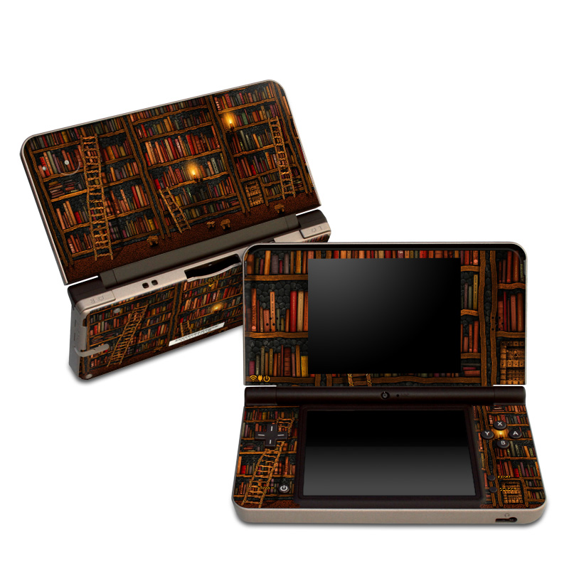 Nintendo DSi XL Skin design of Shelving, Library, Bookcase, Shelf, Furniture, Book, Building, Publication, Room, Darkness with black, red colors