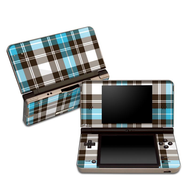 Turquoise Plaid Nintendo DSi XL Skin