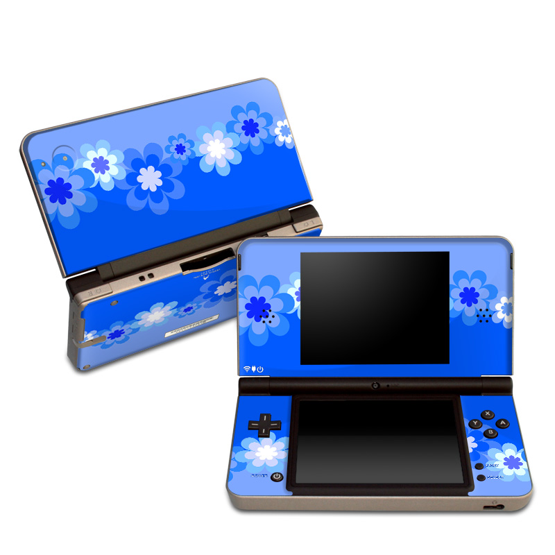 Nintendo DSi XL Skin design of Blue, Cobalt blue, Daytime, Sky, Azure, Violet, Electric blue, Majorelle blue, Petal, Pattern with blue, white colors