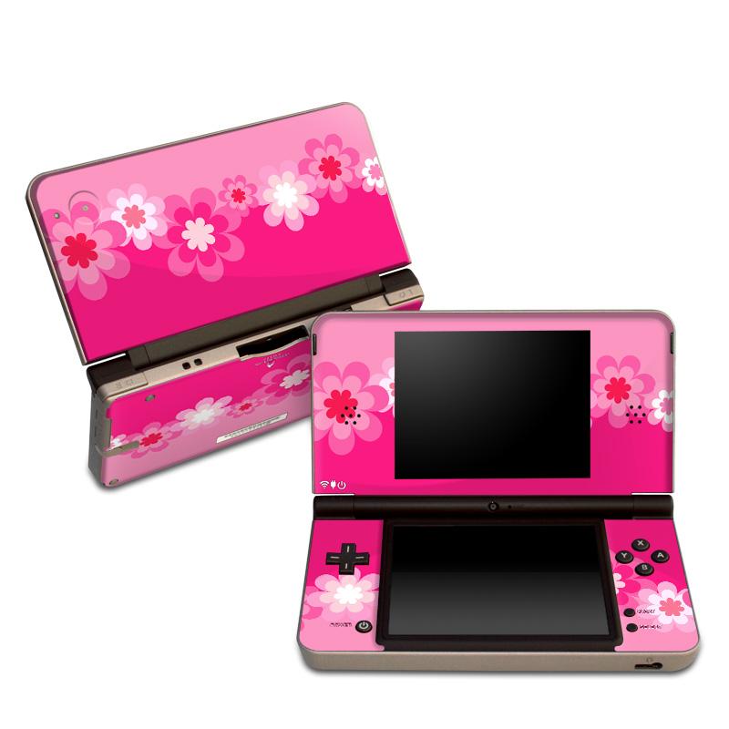Retro Pink Flowers Nintendo DSi XL Skin