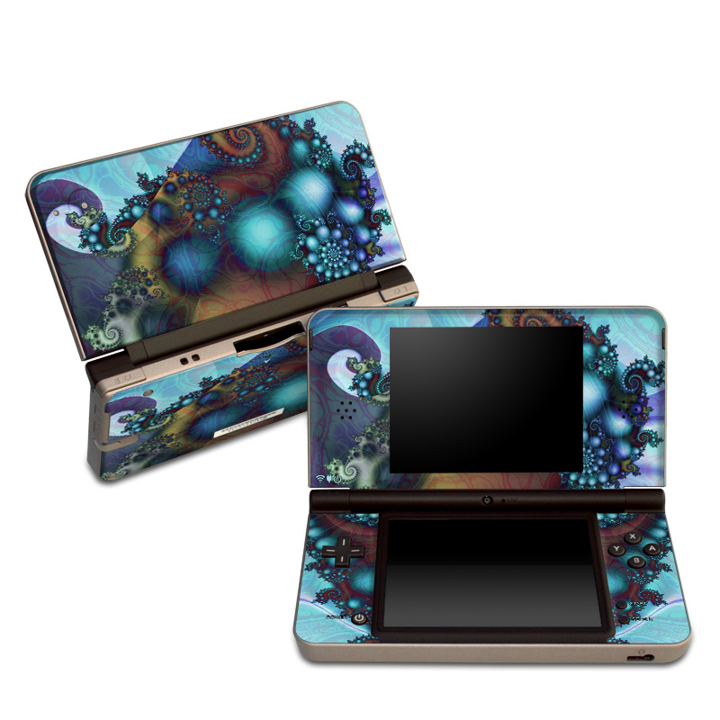 Nintendo DSi XL Skin design of Fractal art, Art, Seahorse, Cg artwork, Organism, Psychedelic art, Illustration, Syngnathiformes, Fictional character, Graphic design with black, gray, blue, red, green colors