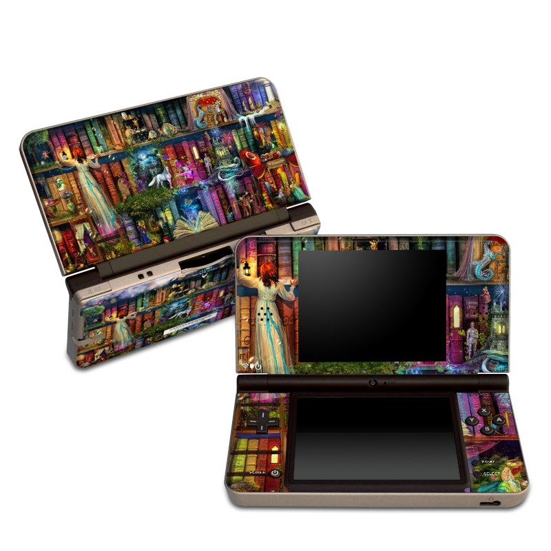 Nintendo DSi XL Skin design of Painting, Art, Theatrical scenery with black, red, gray, green, blue colors