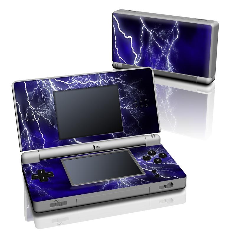 Nintendo DS Lite Skin design of Thunder, Lightning, Thunderstorm, Sky, Nature, Electric blue, Atmosphere, Daytime, Blue, Atmospheric phenomenon with blue, black, white colors