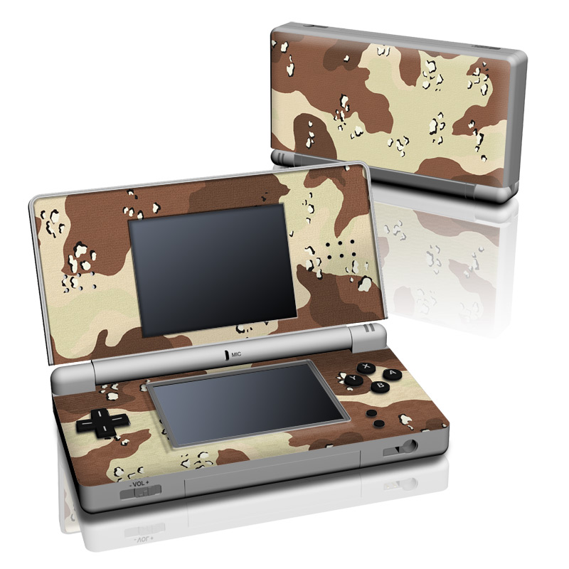 Nintendo DS Lite Skin design of Military camouflage, Brown, Pattern, Design, Camouflage, Textile, Beige, Illustration, Uniform, Metal with gray, red, black, green colors
