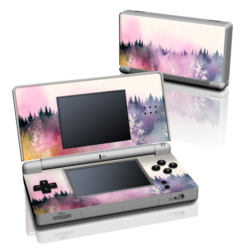 Nintendo DS Lite Skin design of Watercolor paint, Sky, Atmospheric phenomenon, Tree, Atmosphere, Cloud, Landscape, Forest, Painting, Illustration with white, yellow, pink, purple, blue, black colors