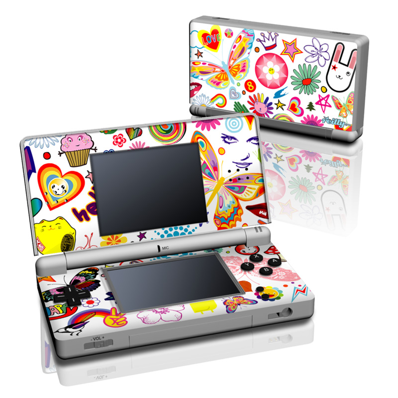 Nintendo DS Lite Skin design of Clip art, Design, Pattern, Visual arts, Graphics, Child art, Wrapping paper, Graphic design, Illustration, Art with white, gray, pink, red, orange, purple colors