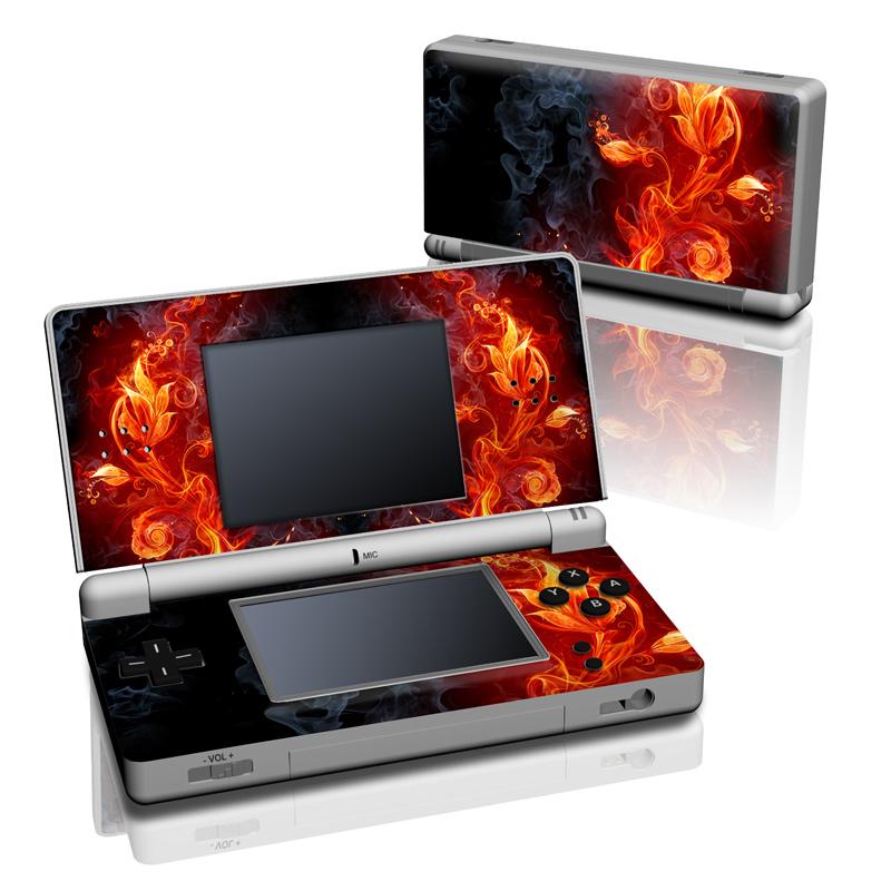 Nintendo DS Lite Skin design of Flame, Fire, Heat, Red, Orange, Fractal art, Graphic design, Geological phenomenon, Design, Organism with black, red, orange colors