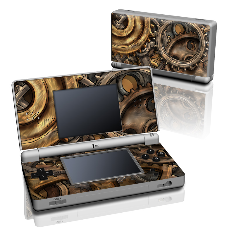 Nintendo DS Lite Skin design of Metal, Auto part, Bronze, Brass, Copper with black, red, green, gray colors
