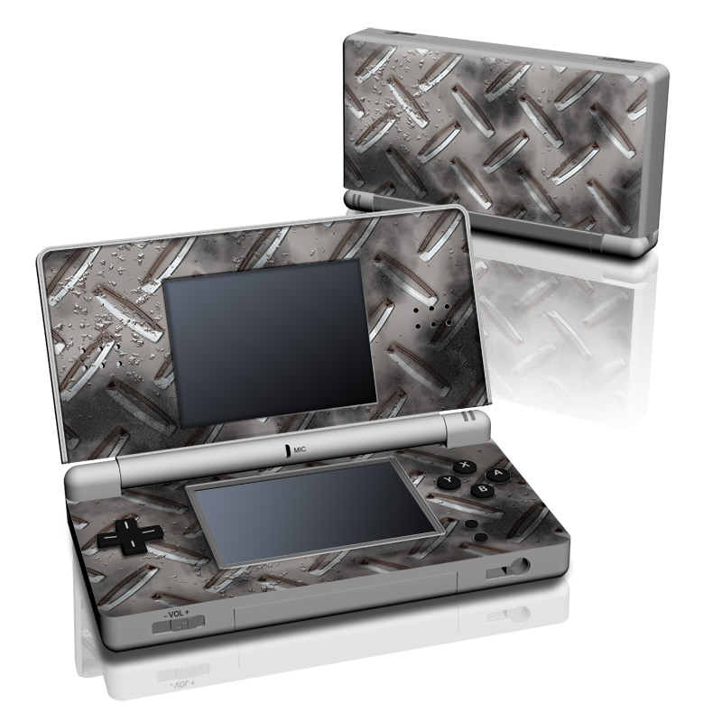 Nintendo DS Lite Skin design of Font, Text, Metal, Pattern, Design, Number, Steel with gray colors