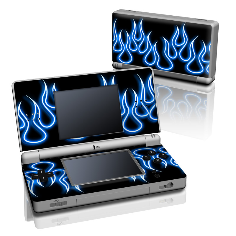 Blue Neon Flames Nintendo DS Lite Skin