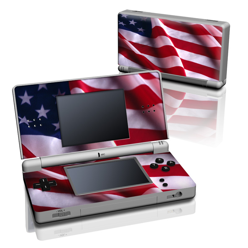 Nintendo DS Lite Skin design of Flag, Flag of the united states, Flag Day (USA), Veterans day, Memorial day, Holiday, Independence day, Event with red, blue, white colors