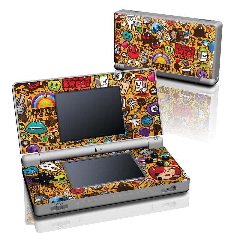 Nintendo DS Lite Skin design of Pattern, Psychedelic art, Visual arts, Art, Design, Illustration, Graphic design, Doodle with black, green, red, gray, orange, blue colors