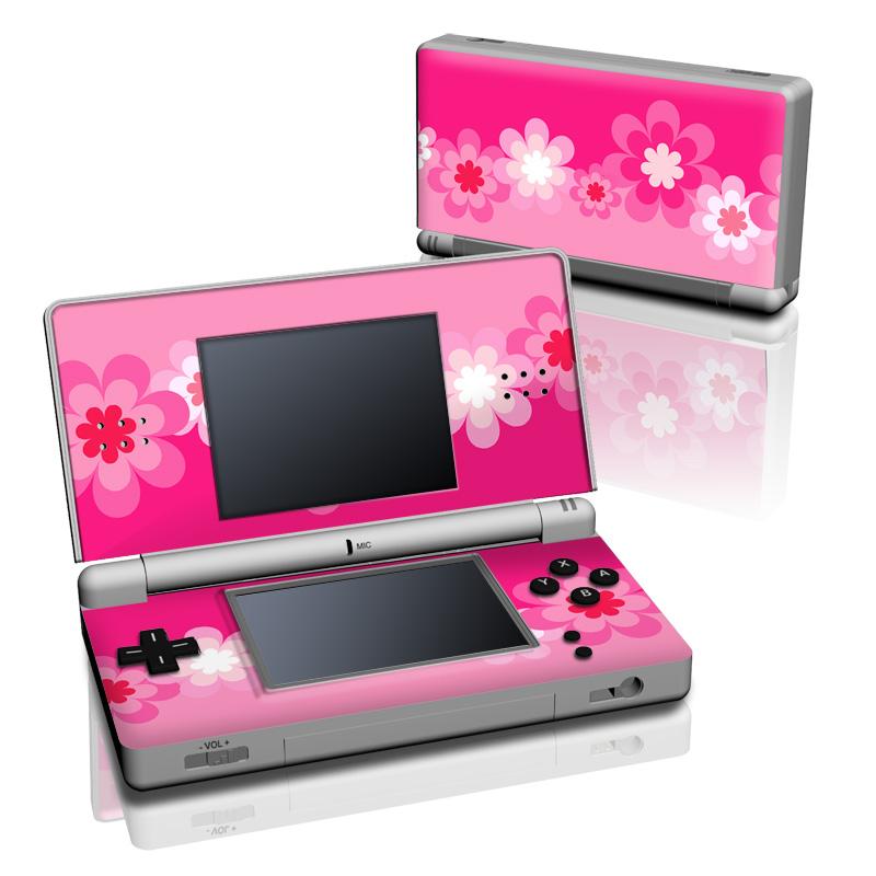 Retro Pink Flowers Nintendo DS Lite Skin