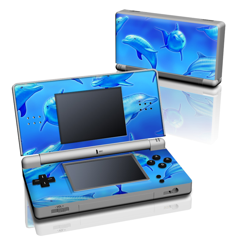 Nintendo DS Lite Skin design of Fin, Marine biology, Fish, Cobalt blue, Blue, Underwater, Marine mammal, Dolphin, Electric blue with blue colors