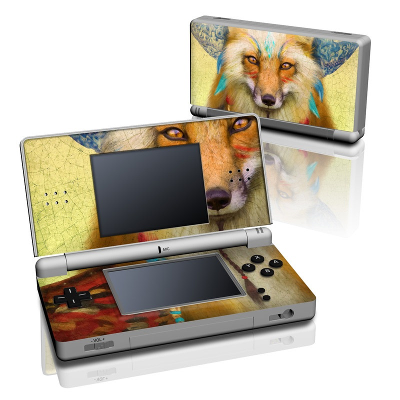 Nintendo DS Lite Skin design of Red fox, Canidae, Fox, Wildlife, Swift fox, Carnivore, Jackal, Fur, Snout, Art with red, black, gray, green, blue colors