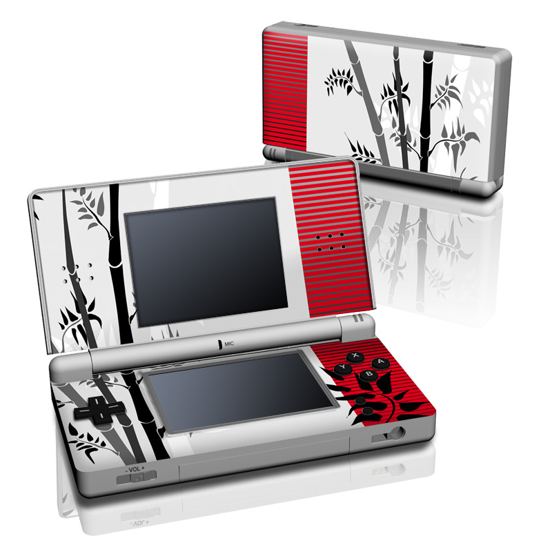 Nintendo DS Lite Skin design of Botany, Plant, Branch, Plant stem, Tree, Bamboo, Pedicel, Black-and-white, Flower, Twig with gray, red, black, white colors