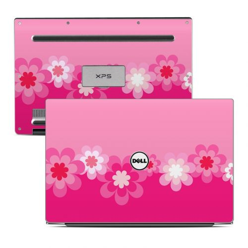 Retro Pink Flowers Dell XPS 13 Skin