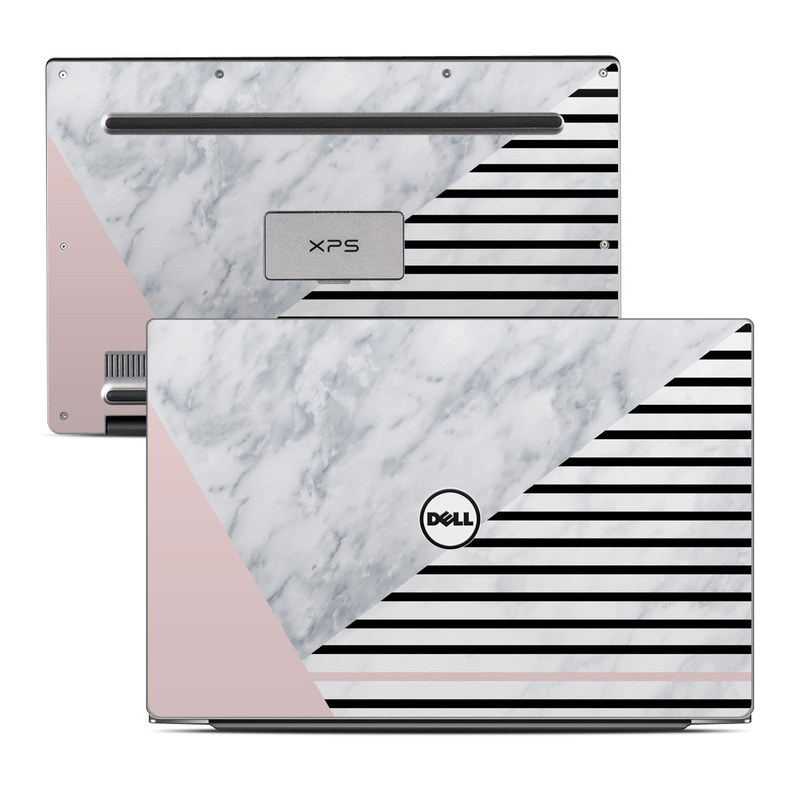 Dell XPS 13 9343 Skin design of White, Line, Architecture, Stairs, Parallel with gray, black, white, pink colors