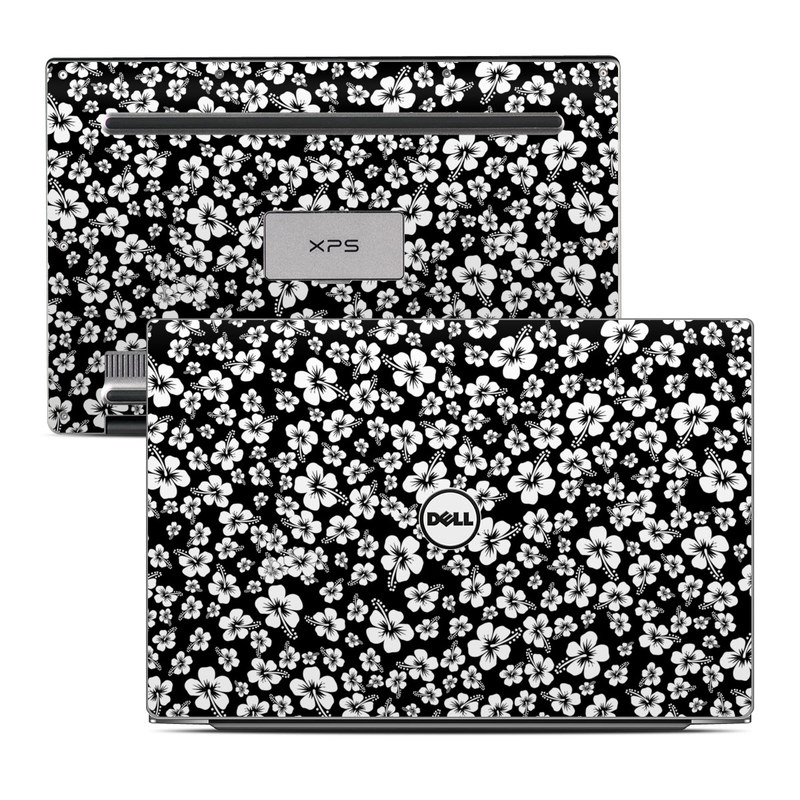 Dell XPS 13 9343 Skin design of Black-and-white, Pattern, Monochrome photography, Monochrome, Petal, Flower, Plant, Wildflower, Design, Leaf with black, white colors