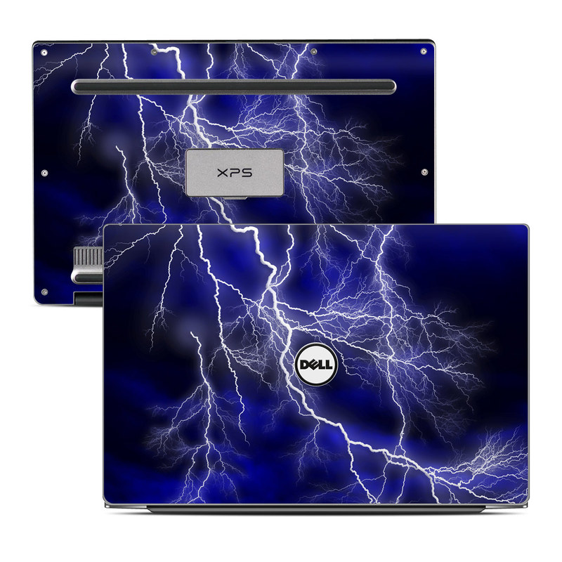 Dell XPS 13 9343 Skin design of Thunder, Lightning, Thunderstorm, Sky, Nature, Electric blue, Atmosphere, Daytime, Blue, Atmospheric phenomenon with blue, black, white colors