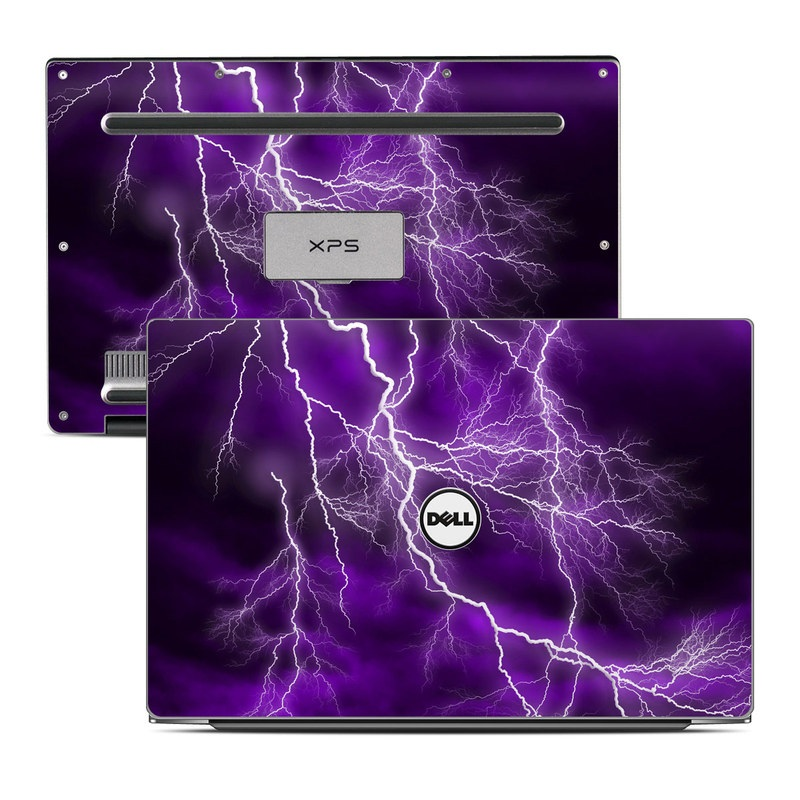 Dell XPS 13 9343 Skin design of Thunder, Lightning, Thunderstorm, Sky, Nature, Purple, Violet, Atmosphere, Storm, Electric blue with purple, black, white colors