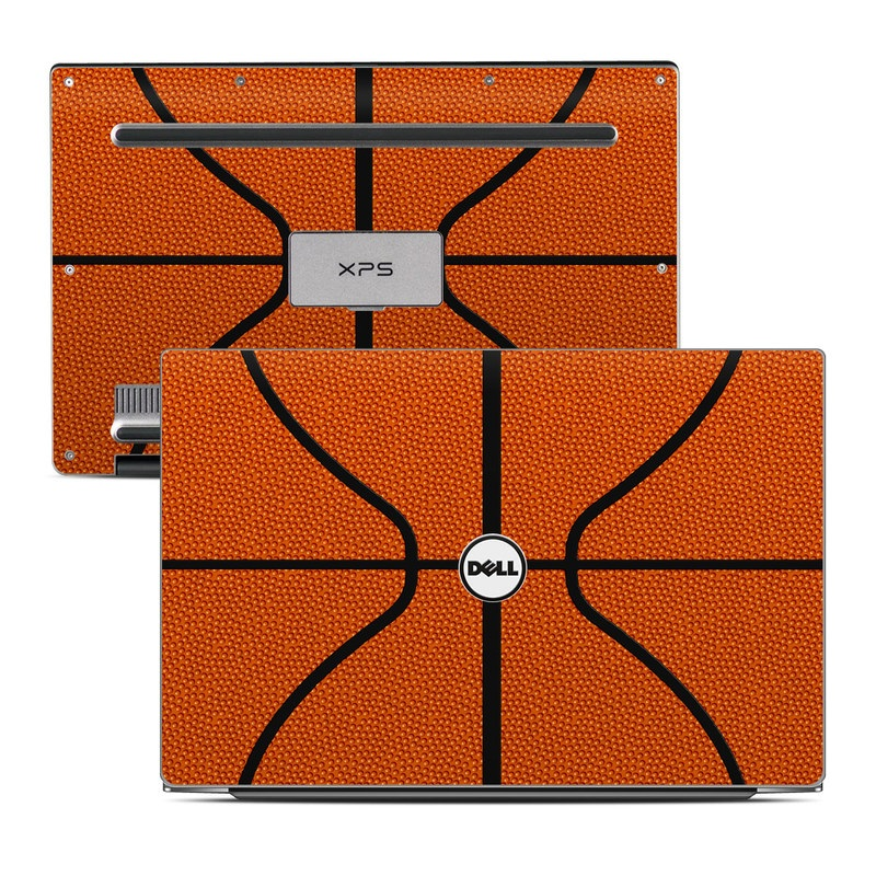 Dell XPS 13 9343 Skin design of Orange, Basketball, Line, Pattern, Sport venue, Brown, Yellow, Design, Net, Team sport with orange, black colors