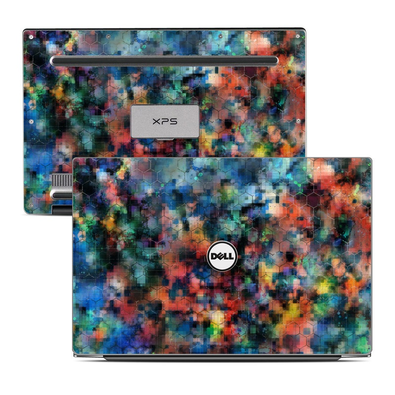 Dell XPS 13 9343 Skin design of Blue, Colorfulness, Pattern, Psychedelic art, Art, Sky, Design, Textile, Dye, Modern art with black, blue, red, gray, green colors